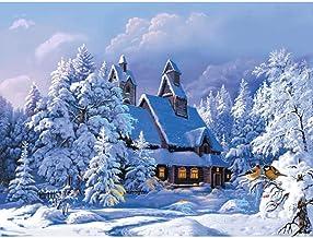 Decoraciones Regalos Arte de la pared Pintura de la lona Pintado a mano por números Diy Pintura al óleo Paisaje nevado Paisaje Moderno 40x50cm-Enmarcado de madera