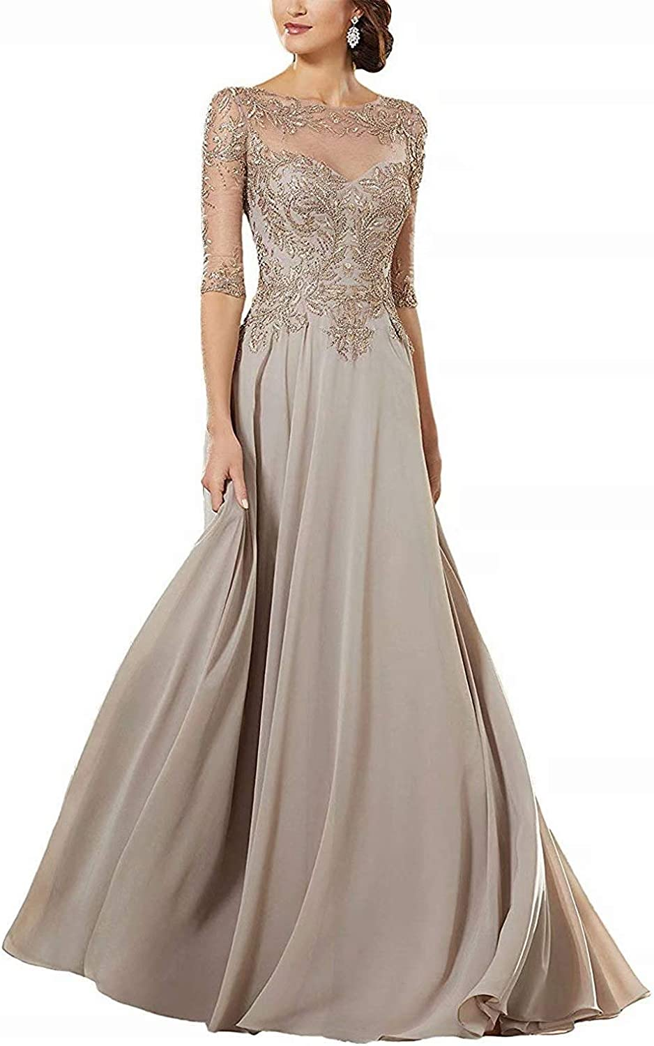 Women's Lace Applique Beaded Mother of The Bride Groom Dress Long Sleeves Chiffon Formal Evening Gowns