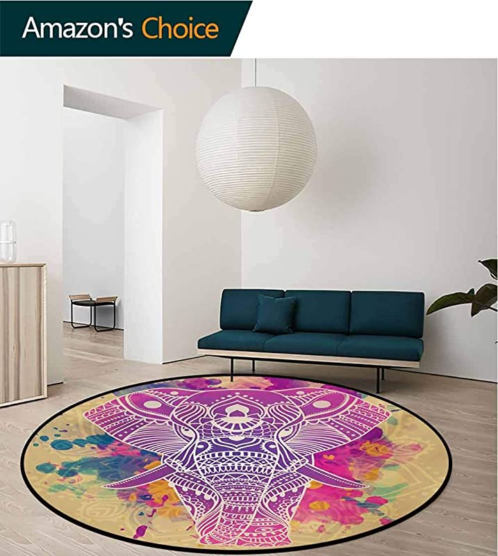 RUGSMAT Ethnic Small Round Rug Carpet Watercolor Style Effect Ethnic Theme An Ornamented Elephant Illustration Door Mat Indoors Bathroom Mats Non Slip Diameter 47 Inch Fuchsia And Sand Brown
