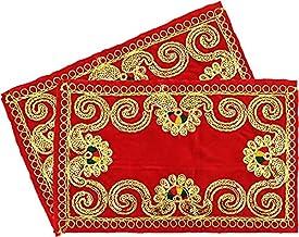Embroidered Red Velvet Puja Aasan Cloth / Pooja Aasan Kapda / Puja Chowki Altar Cloth for Home Mandir, Temple, God & Godde...