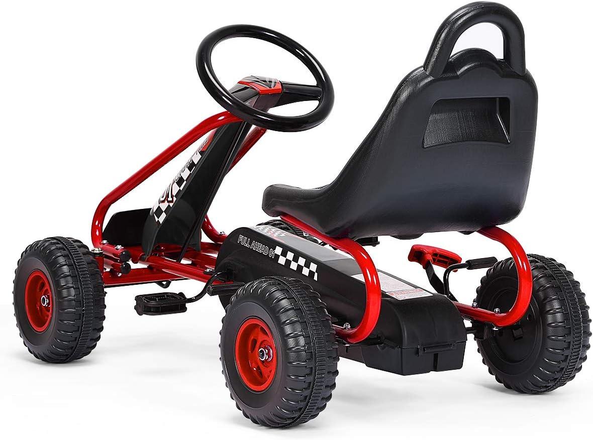 86 x 50 x 55CM Rouge Pneus,Go-Kart pour Gar/çons et Filles GOPLUS Go-Kart pour Enfant 3-6 Ans,Kart /à P/édales Ext/érieur avec Si/ège R/églable sur 2 Positions Frein /à Main