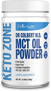 Keto Zone MCT Oil Powder | Unflavored | 300 Grams & 30 Day Supply | Recommended in Dr. Colbert's Keto Zone Diet | Ketogenic Creamer | Best MCT Powder | 70% C8 30% C10 | 0 Net Carbs