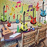 30 Pieces Music Party Decorations, Colorful Music Note Guitar Sign Foil Hanging Swirls Ceiling Streamers for Music Concert Theme Birthday Party Guitar Rock Music Birthday Wedding Party Supplies