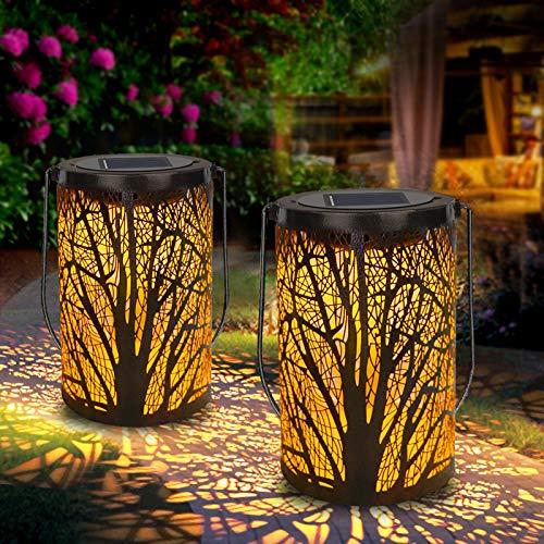Solar Laterne Aussen, Solarlaterne für außen dekorative Atmosphäre Hängende Gartenlaterne Warme Beleuchtung für Innenhof, Party, Gehweg, Terrasse, Garten (2 Stück)