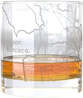 Uncommon Green San Francisco Map Rocks Etched Whiskey Glass