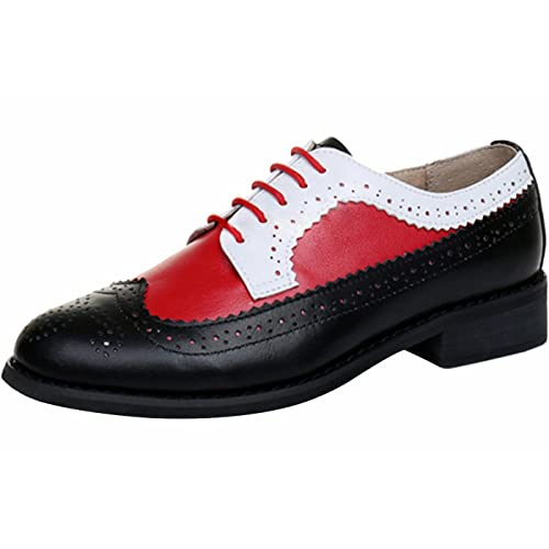 LaRosa Womens Classical Leather Wing-up Brogues Flat Lace-up Oxford Shoes