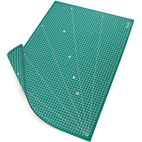 MAXKO tapis de découpe A2 (60 x 45 cm), vert, auto-cicatrisant, avec grille, respectueux de l