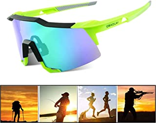 OBAOLAY Polarized Sports Cycling Sunglasses for Men Women Sun Glasses with 2 Interchangeable Lens Anti Glare for Unisex Youth Running Golf Fishing Climbing Baseball Outdoor Driving Eyewear,Neongreen