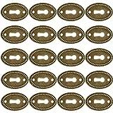 Tapa de Orificio Ovalado de Acero Inoxidable Antiguo, Rosetón BESTZY 20x, Tapa de Ojo de Cerradura de Diseño de Latón, Incluidos Tornillos, 38 Mm x 25 Mm