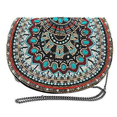 Mary Frances Beaded Western Pattern Crossbody Saddle Bag Purse, Multi