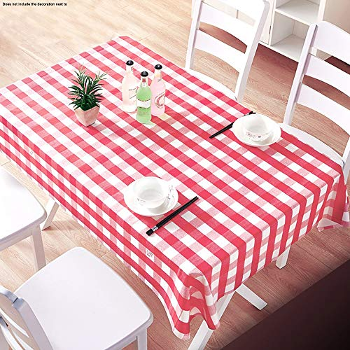 RJJBYY Nappe De Couverture De Table Nappe en Plastique Vichy Rouge Nappe De Nappe en Plastique pour Fêtes D'intérieur Ou D'extérieur Anniversaires Mariages Noël,200 X 200cm