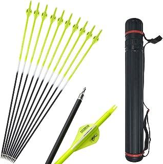 SHARROW 12pcs Flechas de Carbono 30 Pulgadas Spine 500 para