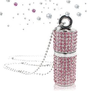 64GB USB Flash Drive, Techkey Bling Rhinestone Jump Drive Diamond Pen Drive Crystal Thumb Drive Glitter Lipstick Case Pendrive Shining Necklace Memory Stick with Jewelry Bag Gift for Girls, Pink