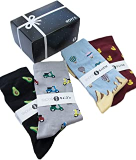 Roits, Pack Regalo 4 Pares Calcetines Hombre 41-46 - Calcetines de Dibujos Divertidos Originales Estampados