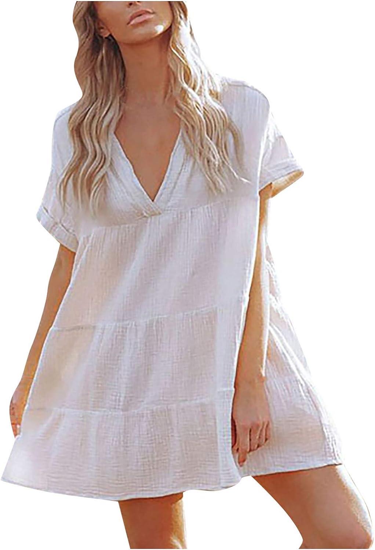 GOODTRADE8 Summer Dresses, Womens V Neck Short Sleeve Dress Ruffle Flowy Sundress Cover-up with Pockets