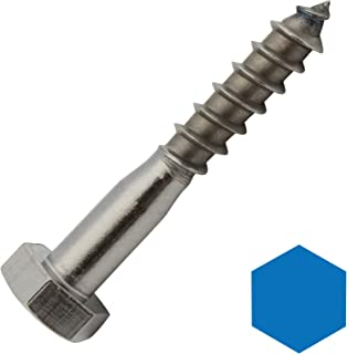 D2D VPE: 10 unidades – Tornillos de madera hexagonales – 10 x 50 mm – DIN 571 – Acero inoxidable A2 VA