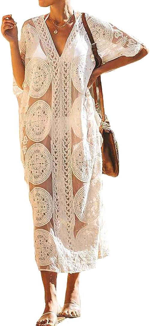 Bestyyou Women's Lace Kaftan Long Maxi Dress Beachwear Bikini Swimsuit Caftan Cover up Swimwear