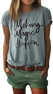 ZAWAPEMIA Womens Letter Printed Pullover Casual Tees T-Shirt