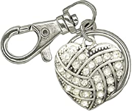 VOLLEYBALL Keychain is Embellished in Clear Crystal Rhinestones.Perfect Volleyball Player Gift!
