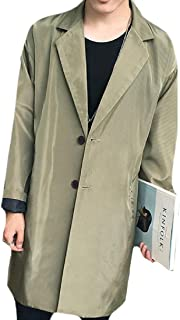 XINHEO Mens Plain Notched Lapel Handsome Mid-Long Style Overcoat