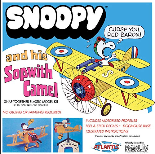 Atlantis Peanuts Snoopy and Sopwith Camel Aircraft Snap Model Kit | Snoopy Toys