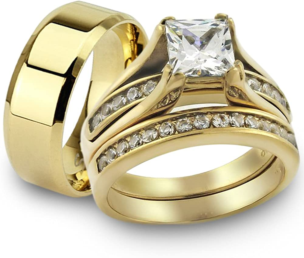 Marimor Jewelry Her His 14K G.P. 3pc E Free Shipping New Wedding El Paso Mall Stainless Steel