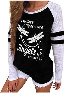 Women Fashion Printed Long Sleeve T-shirt ❀ Ladies Round Neck Casual Blouse Sweatshirt Tee Shirt Blouse Tunic Tops
