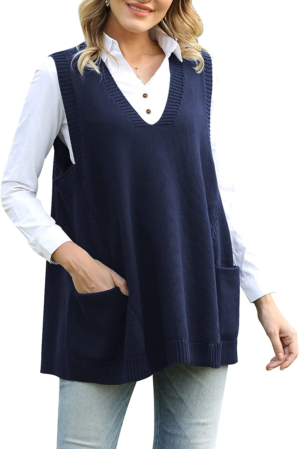 Beaurex Women Loose Swing Oversized Chunky Knitted Sweater Vests Pullovers Tops with Drop Pockets SW09