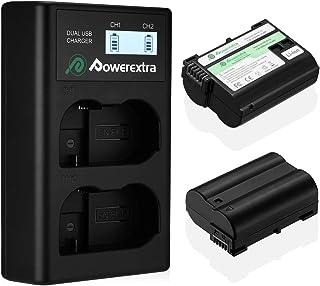 EN-EL15 EN-EL15a Powerextra 互換バッテリー 2個 + LCDディスプレイUSB充電器セット Nikon D7100, D750, D7000, D7200, D7500, D810, D610, D800, D850...