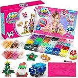 WuikerDuo Abalorios Cuentas de Agua, 4800 Piezas de Perlas de Bricolaje, 24 Colores de megaperlas para niños, Modelado de Perlas de Bricolaje, con el Kit de diseño para niños con Perlas de Cristal