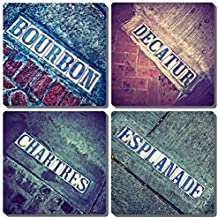 EXIT82ART - Stone Drink Coasters (Set of 4). New Orleans French Quarter Iconic Tiles Street Signs. Tumbled Stone, Cork-backed.