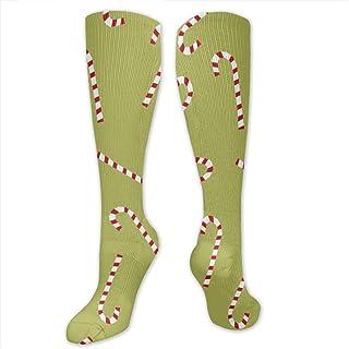 Candy Cane calcetín de compresión verde lima para mujeres y hombres – mejor para correr, deportes atléticos, viajes de vuelo 19.68