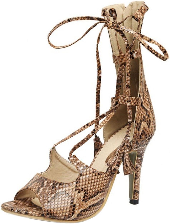 TAOFFEN Women Fashion Elegant Stiletto Cross Strap Sandals With Zipper
