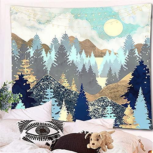 Tapiz con vista a la montaña, tapiz de Mandala indio, Tarot, decoración de habitación hippy, manta bohemia para colgar en la pared, A1 73x95cm