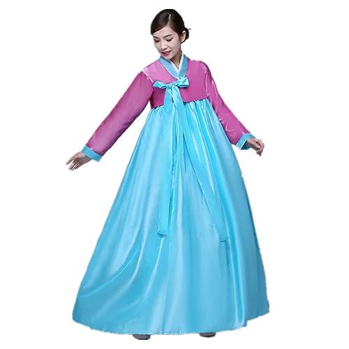 11ad33679 XINFU Korean Traditional Women's Hanbok Set Long Sleeve Colorful Dress  Cosplay Costume