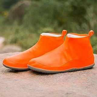 Silicone Rain Boots, Non-Slip Thick Wear-Resistant Rain Boots, Double-Color Layered Folding Rain Boots JCCOZ (Color : Orange, Size : XXL)