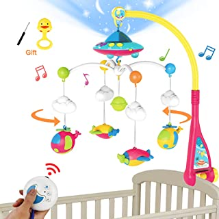 BOBXIN Baby Mobile for Crib, Crib Mobile with Projector and 108 Melodies Music, Crib Toys with Remote Control and Hanging ...