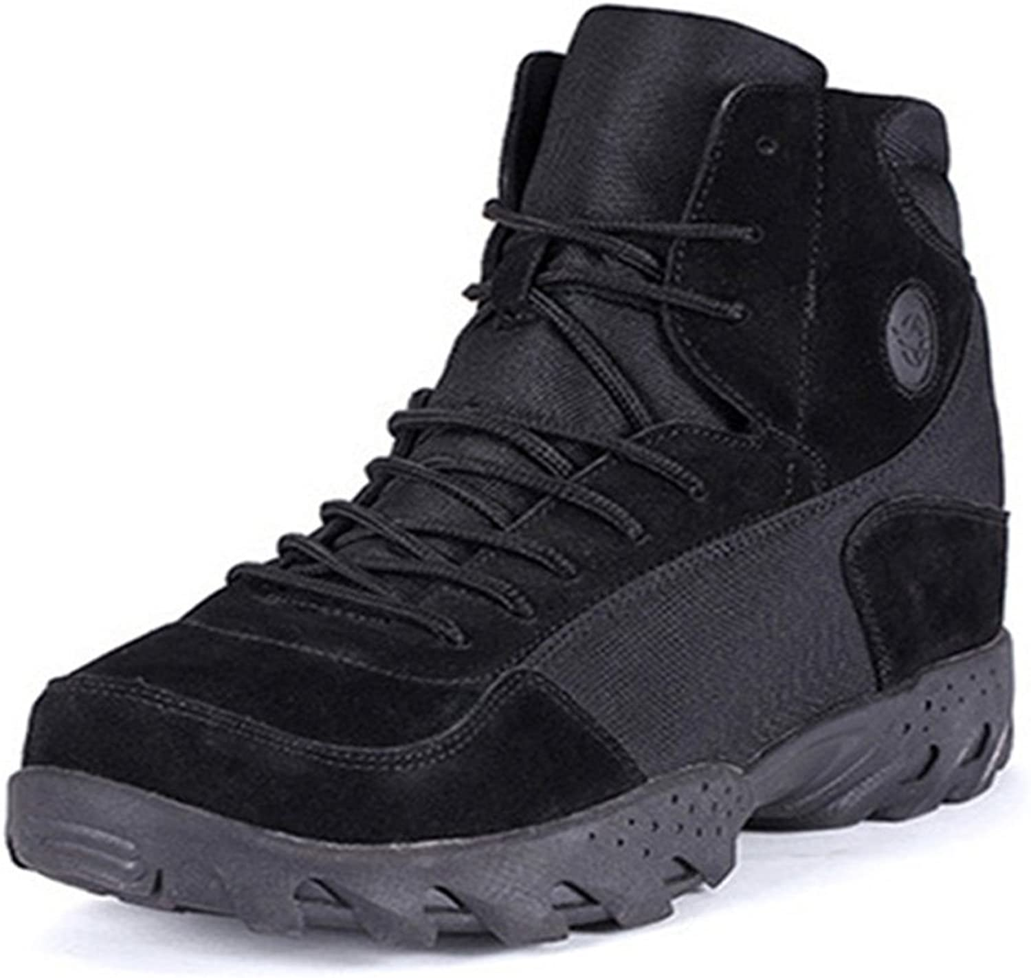 Emansmoer Men's High-top Lace-up Army Tactical Combat Boots shoes Suede Waterproof Outdoor Hiking Trail Trekking Boots