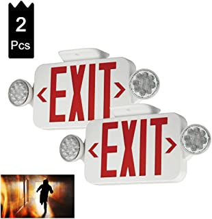 (2 Pack) UL Certified LED Round Emergency Light Exit Sign Hardwired Compact Combo with 2 Adjustable Head Lights,Red Emergency Exit Lighting Commercial Grade High Output