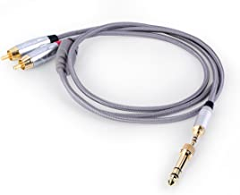 Tenuto Tech Audio Cable 3.5mm/6.35mm Stereo Jack to 6.35mm 2-Male RCA Adapter Cable