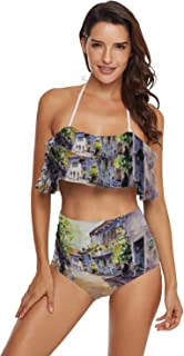 C COABALLA Womens Two Piece Off Shoulder Ruffled Flounce Bathing Suit The Parent and Child of Japanese Dog Japan,