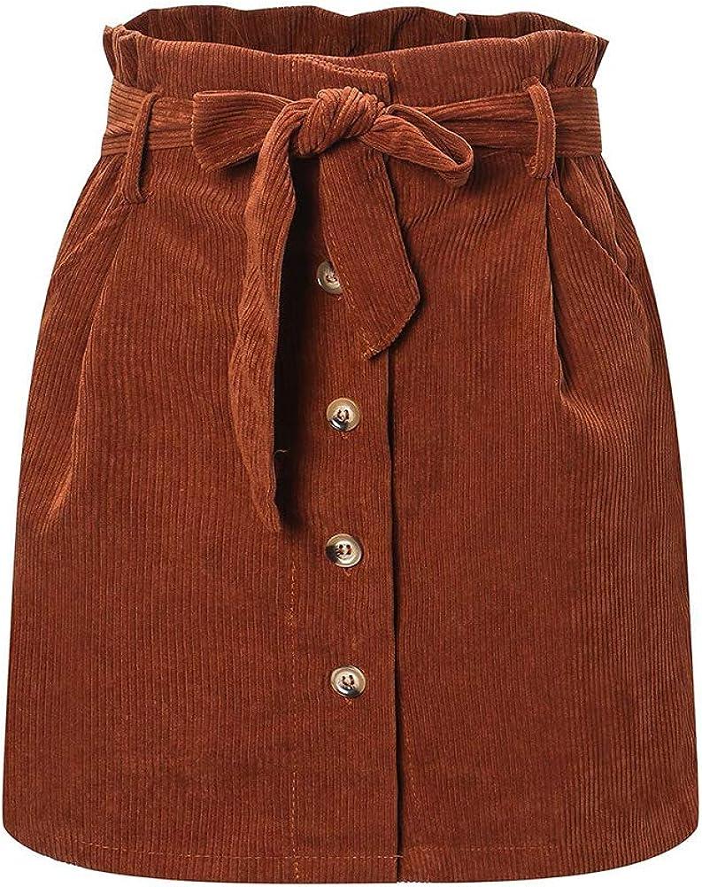 chouyatou Women's High Waist Corduroy Belted Paperbag Short Mini Skirt Button Front