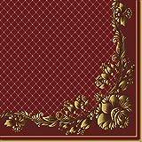 20pcs Servilletas para Decoupage Gold Frame & Net on Crimson Vintage SLOG051301