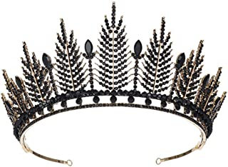 SOLUSTRE Bridal Crown Crystal Tiara Crowns Princess Elegant Crown Women Black Rhinstone Headbands Bridal Wedding Prom Birt...