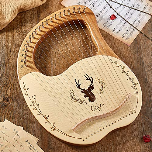 19 String Lyre Harp, Mahagoni mit Solidwood Tasche Tuning Schlüssel Reinigungstuch, für Anfänger Musikliebhaber Kinder Erwachsene Musikinstrument