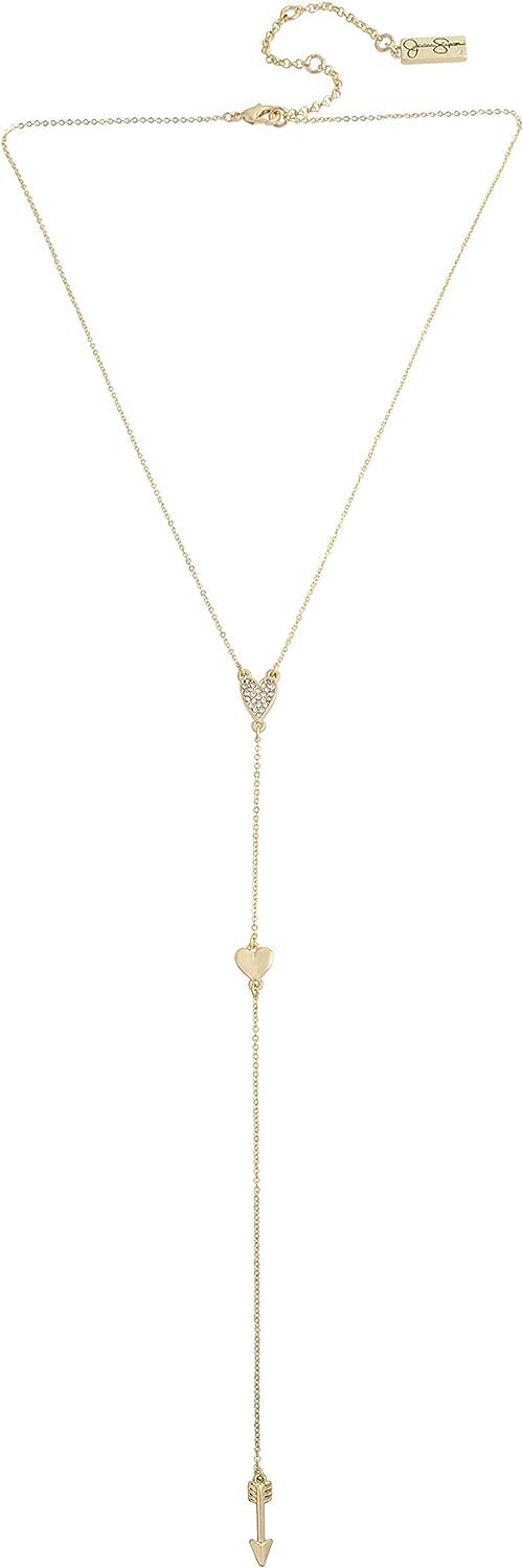 Jessica Simpson Heart & Arrow Y Necklace, Crystal (342896GLD111)