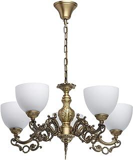 MW-Light 450016805 Lámpara de Techo Colgante Clásico Tradicional Metal Color Latón envejecido Vidrio Blanco Mate 5 Brazos Estilo Vintage Medieval 5 x 60W E27