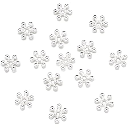 100pcs 4mm Silver//Gold Snowflake Flower Spacer Beads Jewellery Making Findings