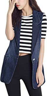 Women's Slim fit Jean Vests Buttons Down Ripped Frayed Mid-Long Denim Jacket Waistcoats