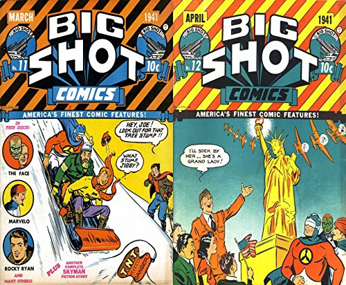Big Shot Comics. Issues 11 and 12. Golden Age Digital Comics  America's finest comic features. Includes The face, Marvelo, Rocky Ryan plus Skyman. (English Edition)